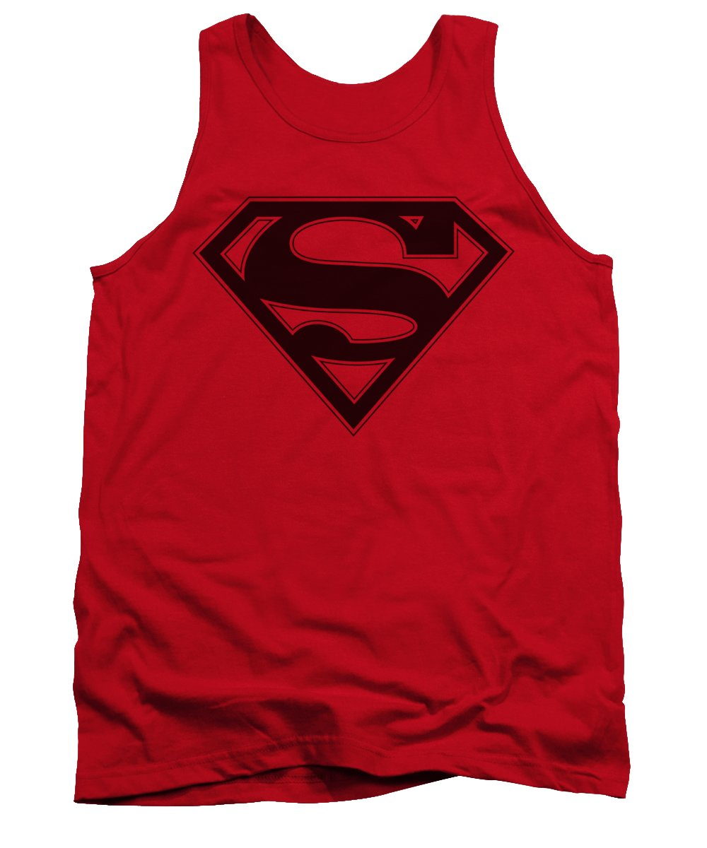 Superman Tank Top featuring the digital art Superman - Red And Black Shield by Brand A