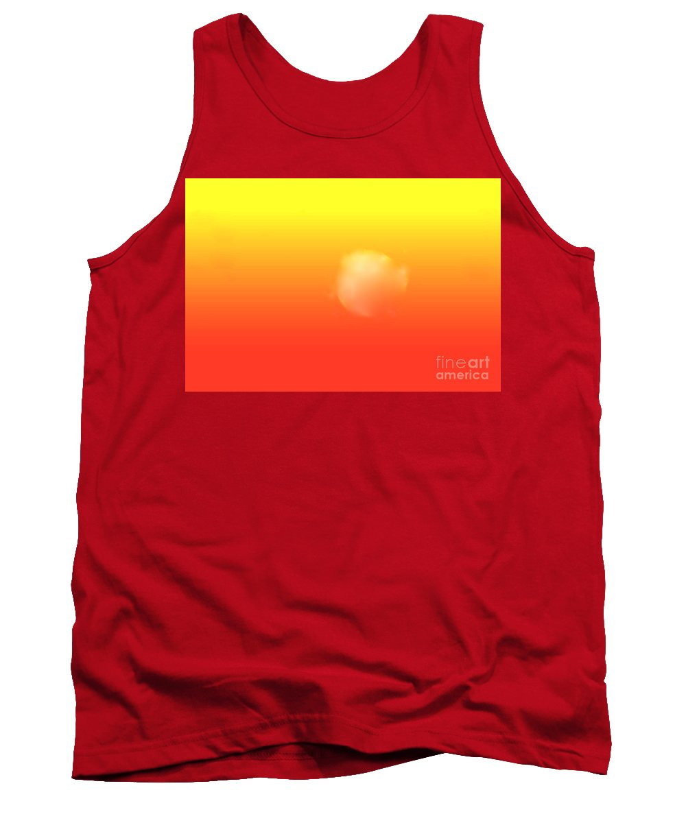 Sunrise Filtered Through Red And Yellow Sky Tank Top featuring the digital art White Sun by Hugh Thompson