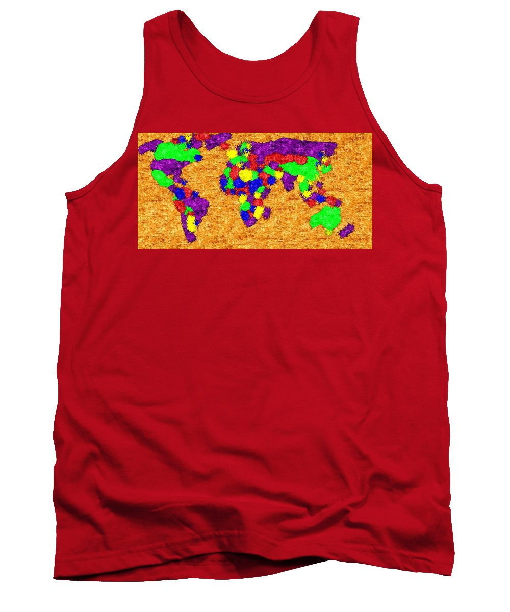 World Tank Top featuring the digital art World Map by Snowflake Obsidian