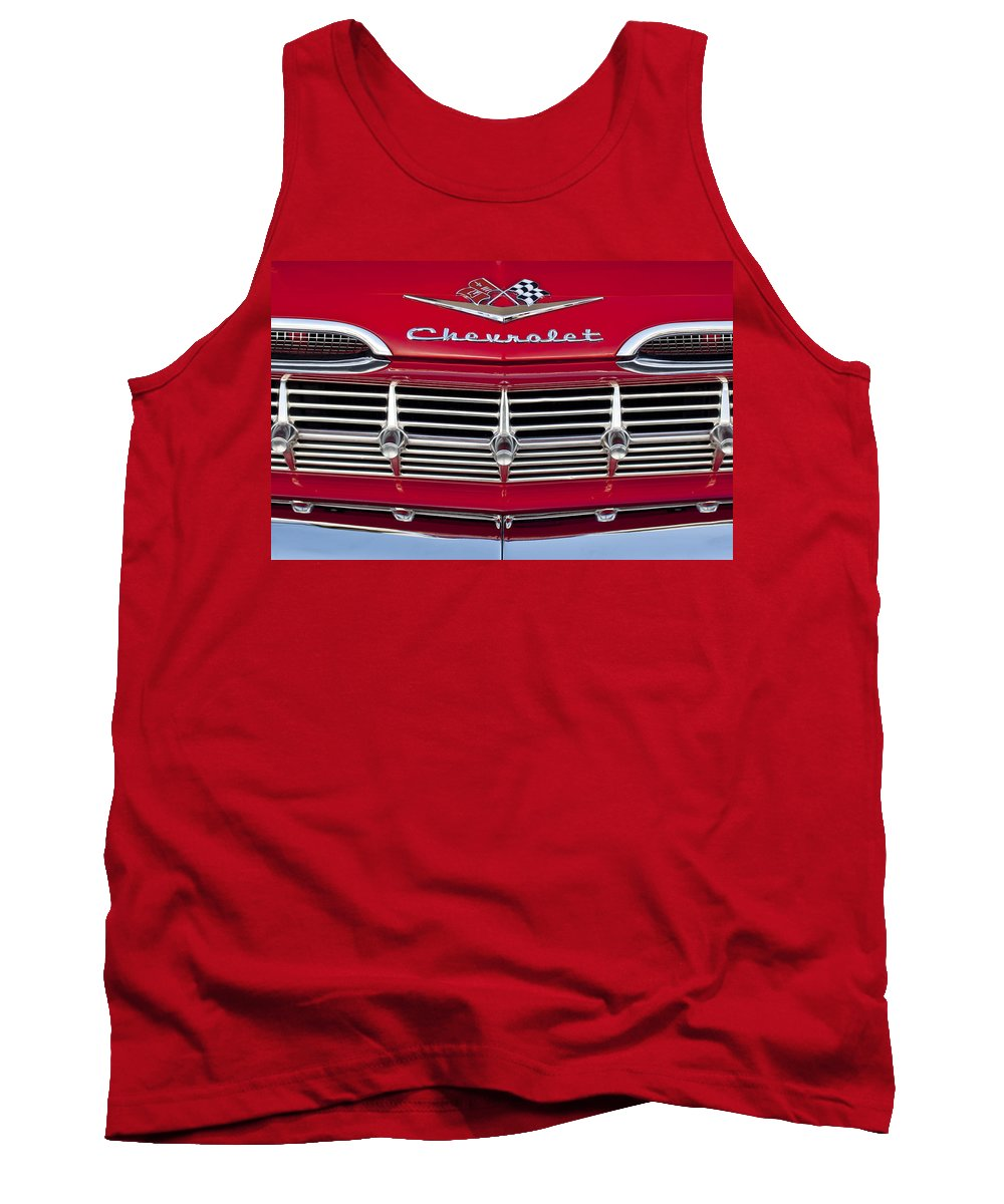 1959 Chevrolet Tank Top featuring the photograph 1959 Chevrolet Grille Ornament by Jill Reger