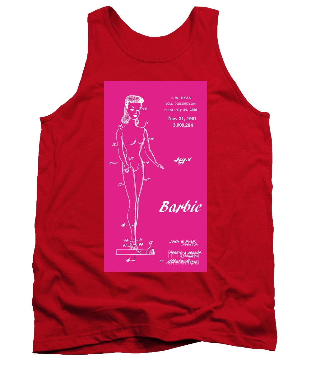 Patent Art Tank Top featuring the digital art 1961 Barbie Doll Patent Art 1 by Nishanth Gopinathan