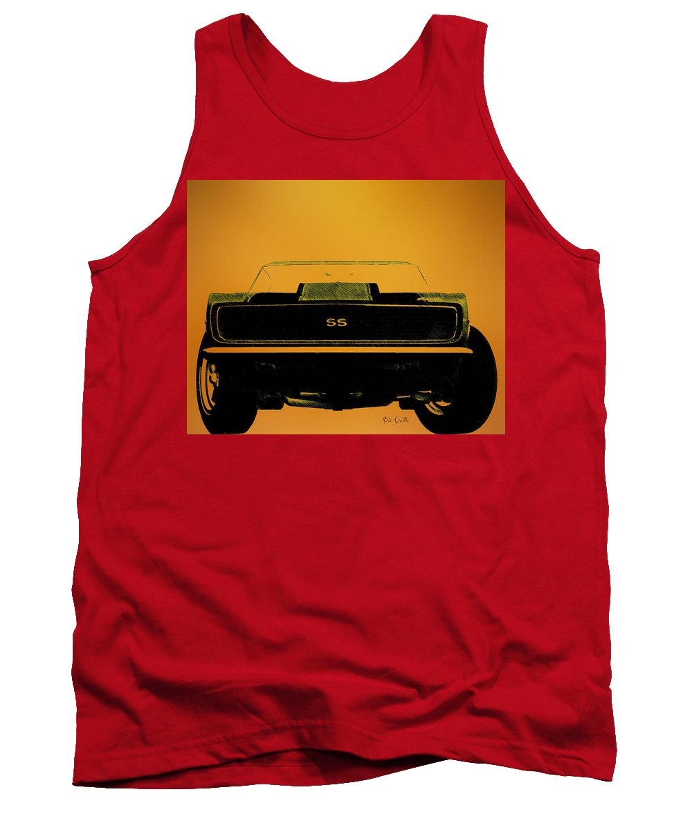 1968 Camaro Ss Tank Top featuring the drawing 1968 Camaro Ss Head On by Bob Orsillo