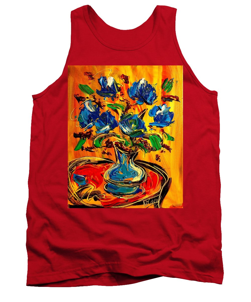 Roses Tank Top featuring the painting Blue Roses by Mark Kazav