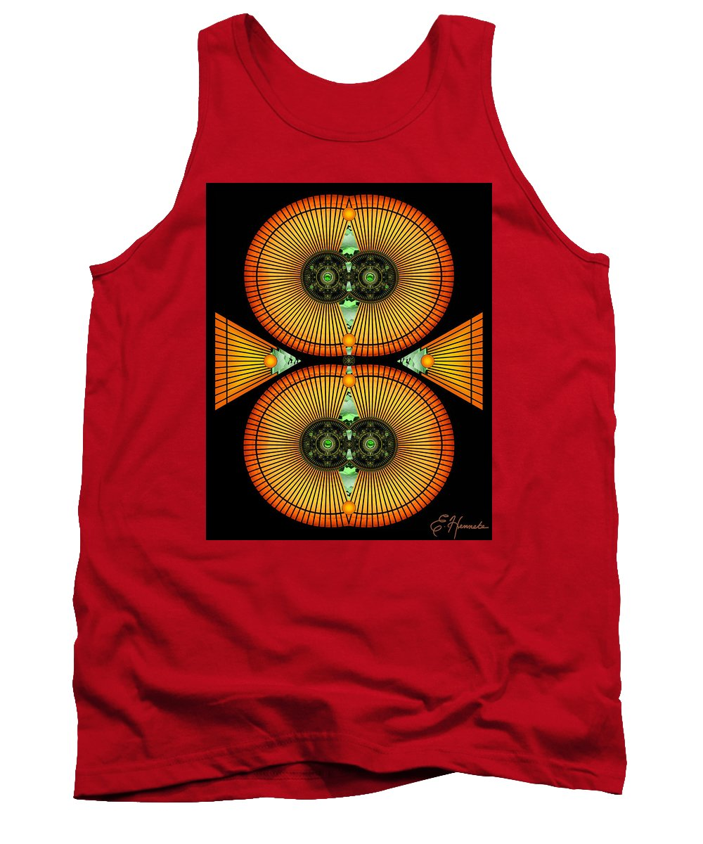 Cosmic Mitosis Tank Top featuring the mixed media Cosmic Mitosis by Ellen Henneke