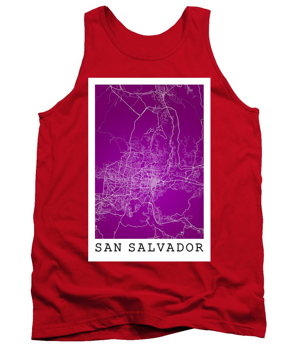 Road Map Tank Top featuring the digital art San Salvador Street Map - San Salvador El Salvador Road Map Art by Jurq Studio
