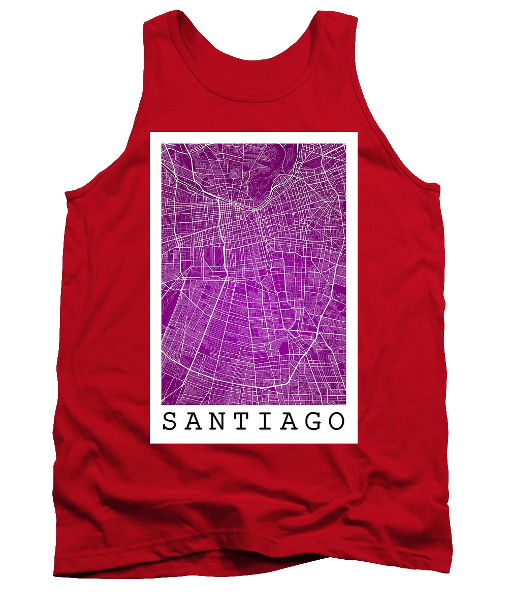 Road Map Tank Top featuring the digital art Santiago Street Map - Santiago Chile Road Map Art On Colored Bac by Jurq Studio