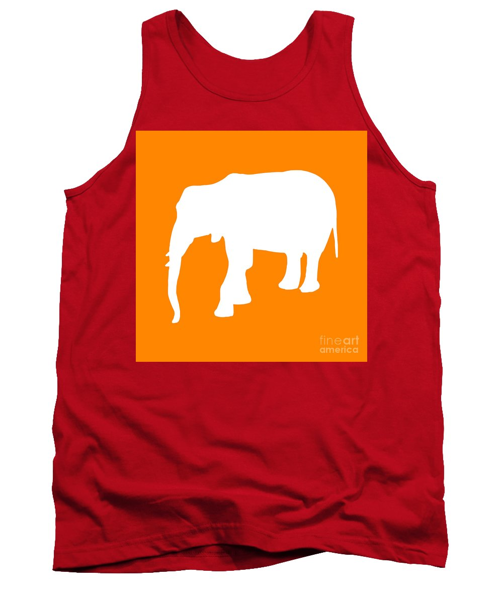 Graphic Art Tank Top featuring the digital art Elephant In Orange And White by Jackie Farnsworth