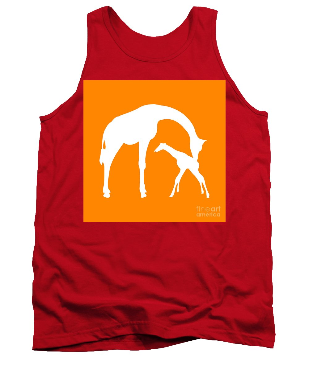 Graphic Art Tank Top featuring the photograph Giraffe In Orange And White by Jackie Farnsworth