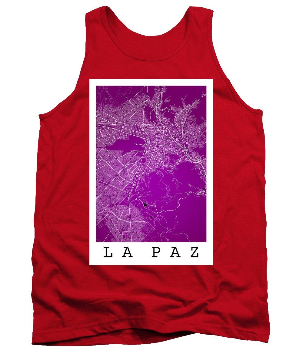 Road Map Tank Top featuring the digital art La Paz Street Map - La Paz Bolivia Road Map Art On Colored Back by Jurq Studio