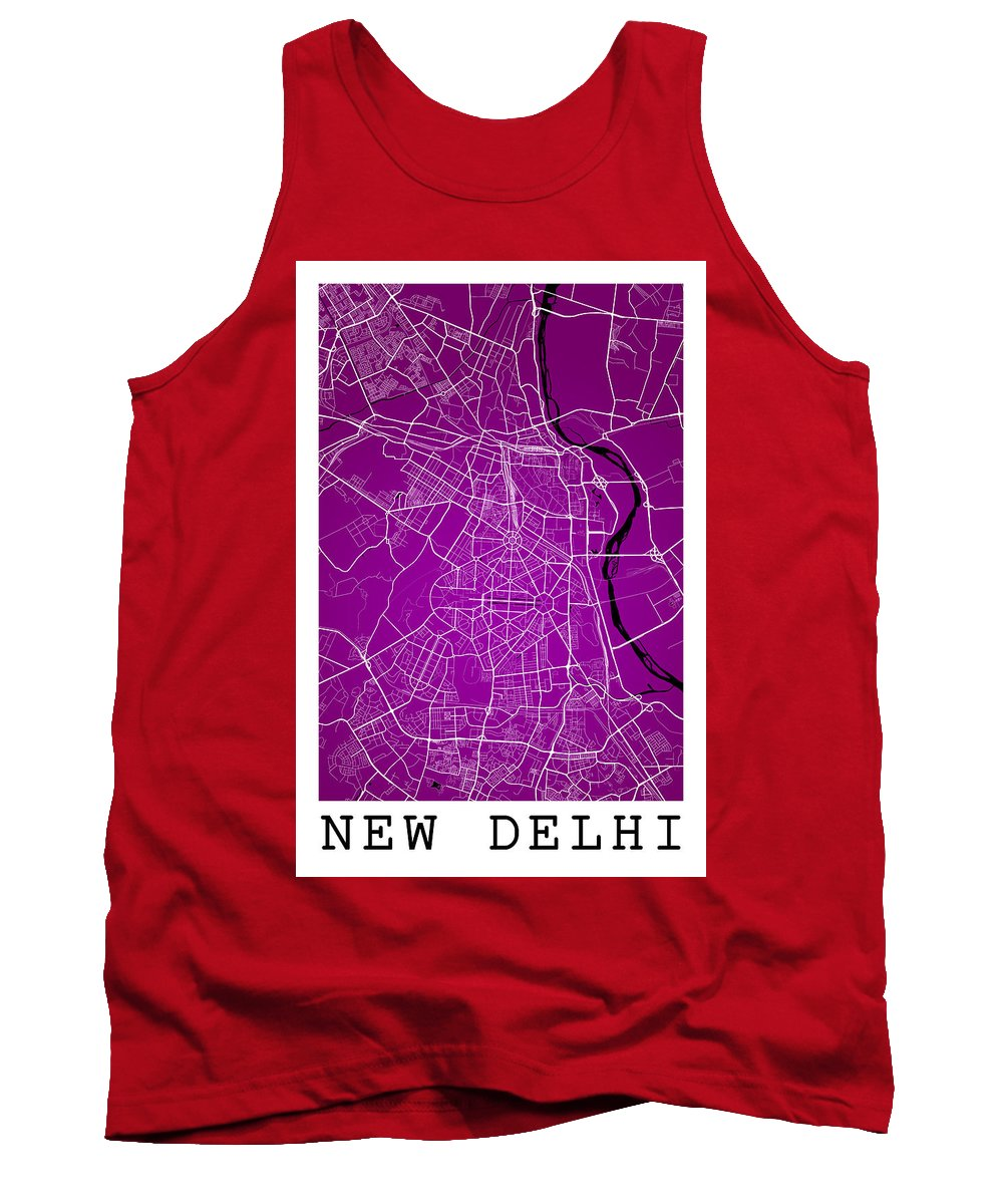 Road Map Tank Top featuring the digital art New Delhi Street Map - New Delhi India Road Map Art On Color by Jurq Studio