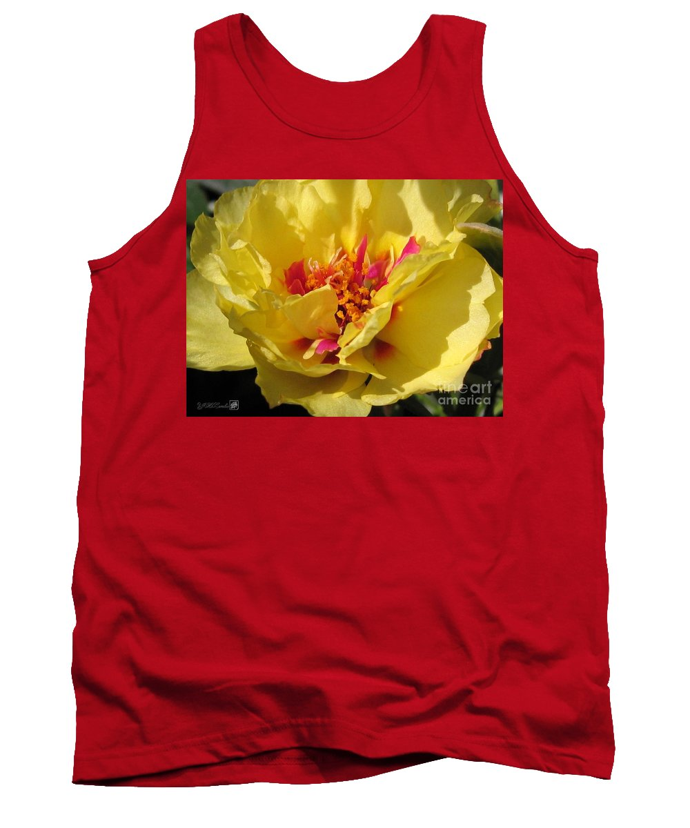 Mccombie Tank Top featuring the photograph Portulaca Named Happy Hour Banana by J McCombie