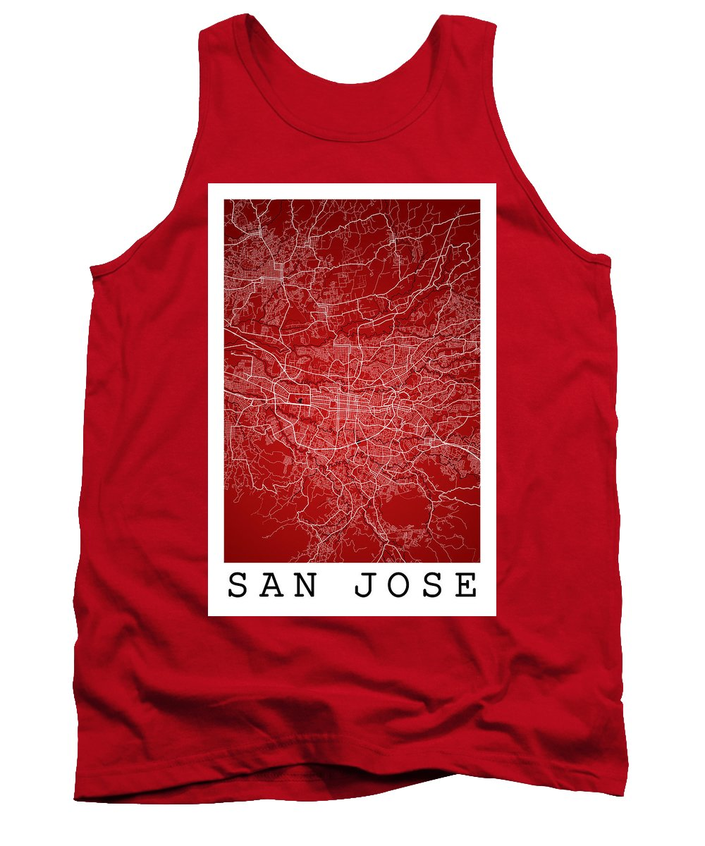 Road Map Tank Top featuring the digital art San Jose Street Map - San Jose Costa Rica Road Map Art On Colore by Jurq Studio