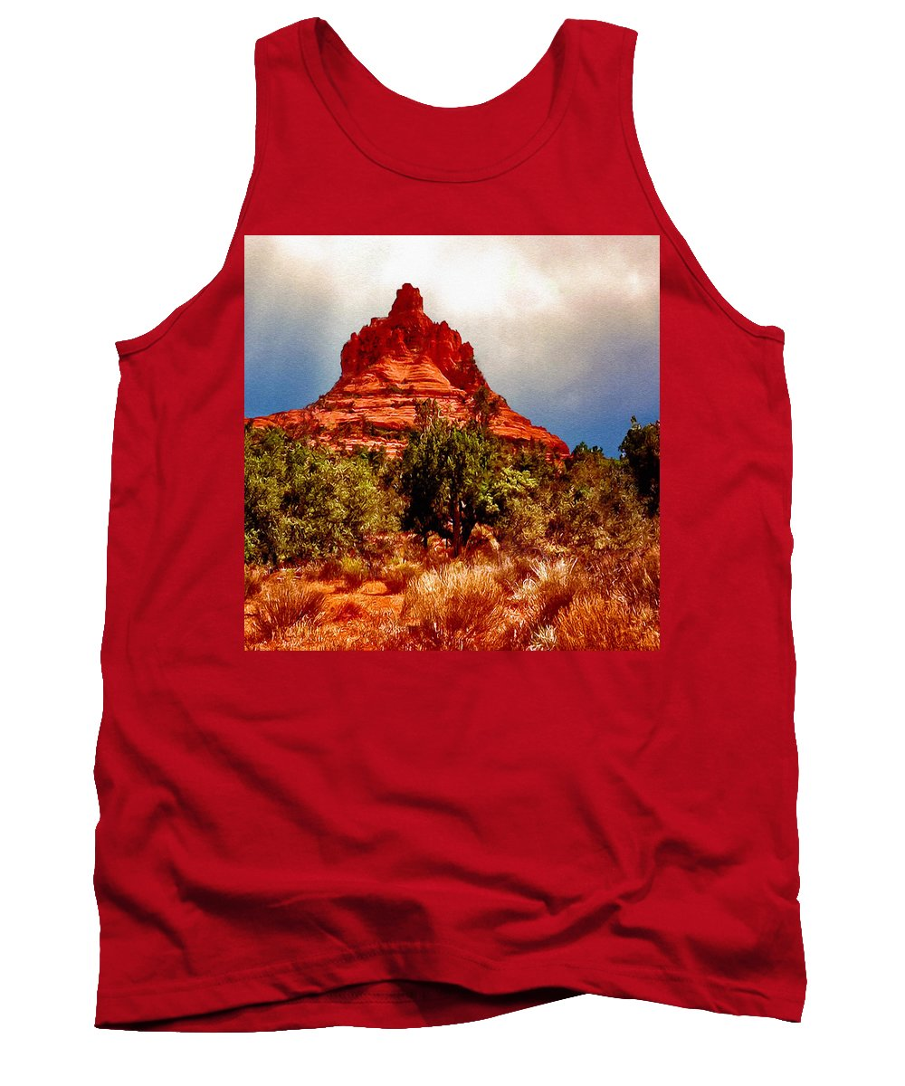 Abstract Tank Top featuring the painting Bell Rock Vortex Painting by Bob and Nadine Johnston