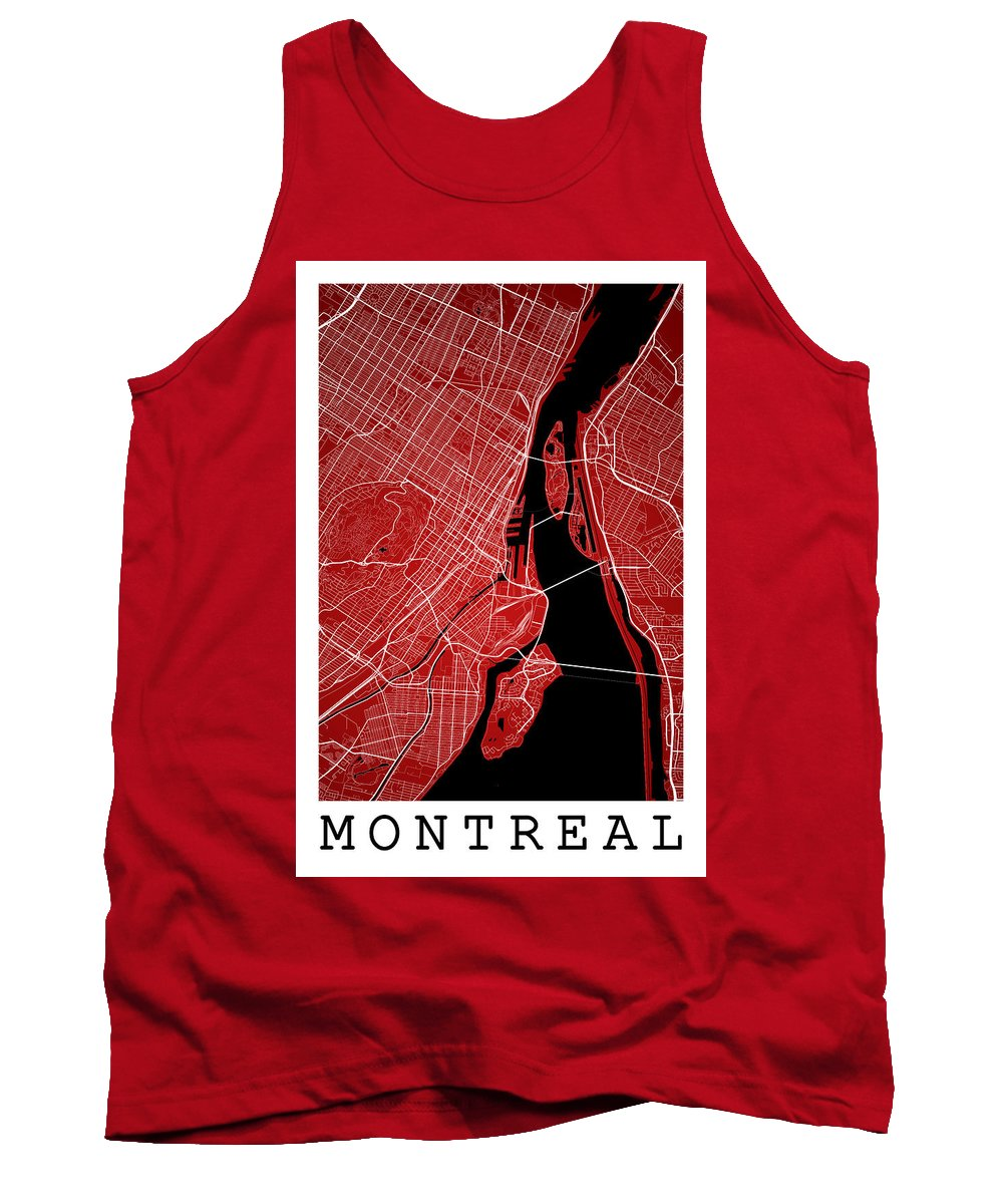 Road Map Tank Top featuring the digital art Montreal Street Map - Montreal Canada Road Map Art On Colored Ba by Jurq Studio