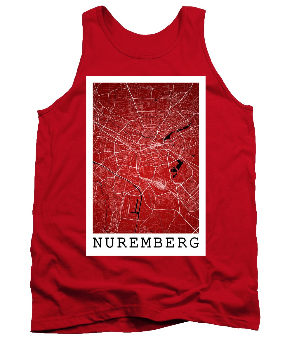 Road Map Tank Top featuring the digital art Nuremberg Street Map - Nuremberg Germany Road Map Art On Colored by Jurq Studio