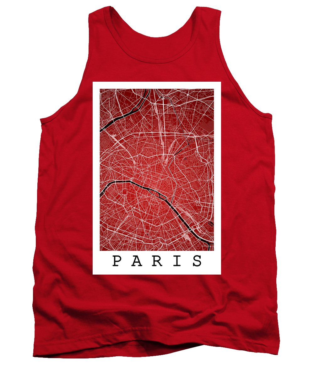 Road Map Tank Top featuring the digital art Paris Street Map - Paris France Road Map Art On Colored Backgrou by Jurq Studio