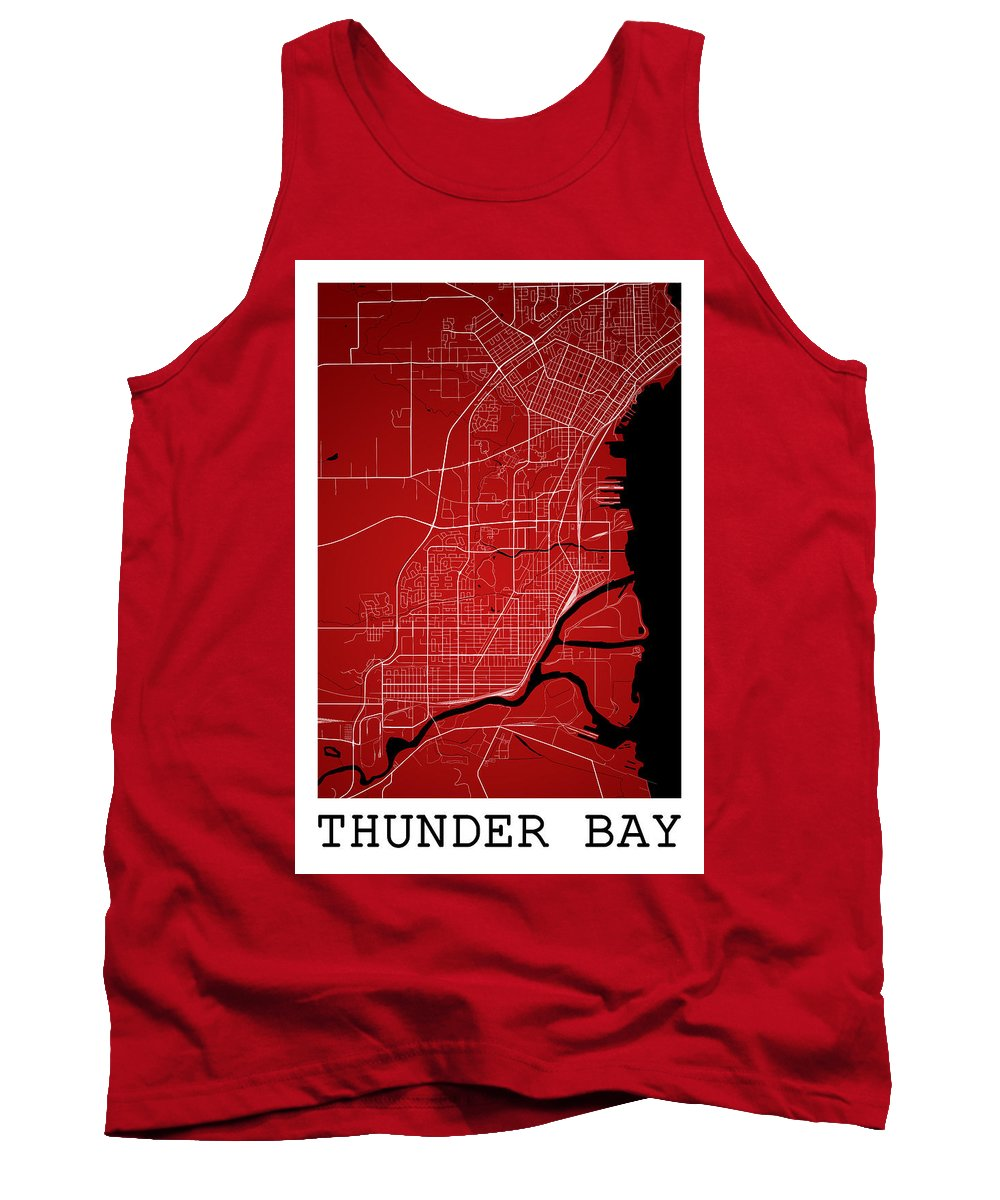 Road Map Tank Top featuring the digital art Thunder Bay Street Map - Thunder Bay Canada Road Map Art On Colo by Jurq Studio