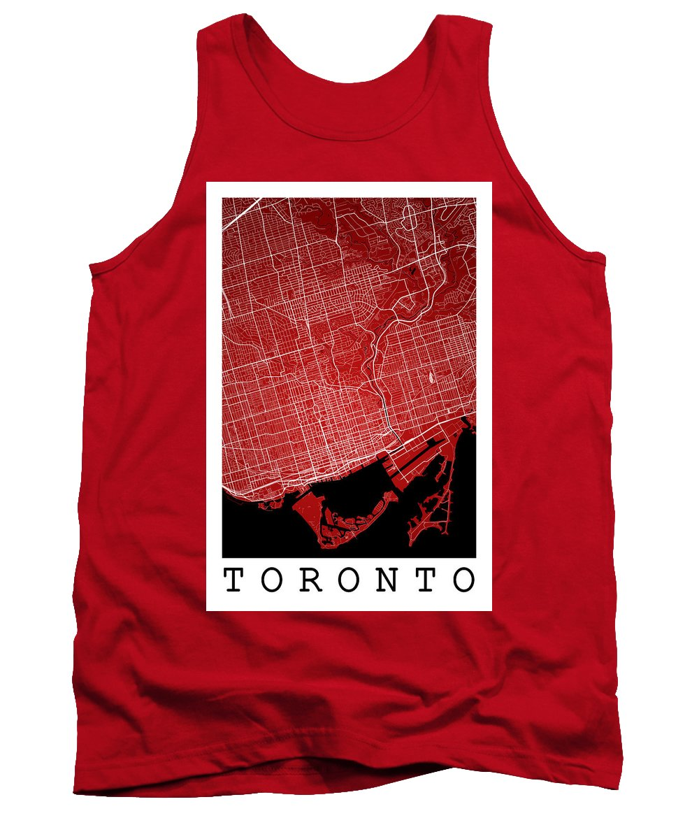 Road Map Tank Top featuring the digital art Toronto Street Map - Toronto Canada Road Map Art On Colored Back by Jurq Studio