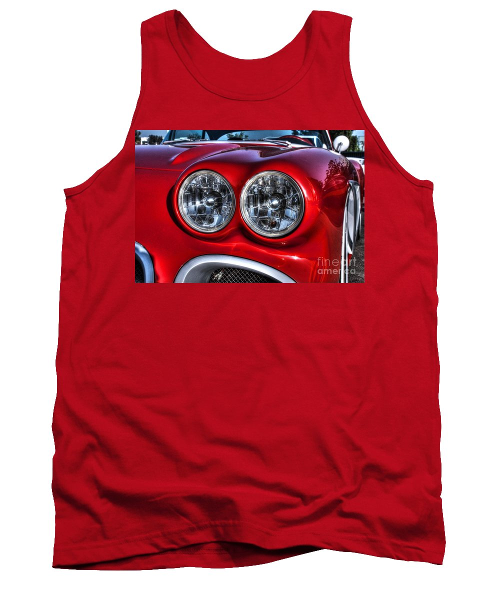 1958 Corvette West Coast Customs Tank Top featuring the photograph 58 Vette Lights by Tommy Anderson