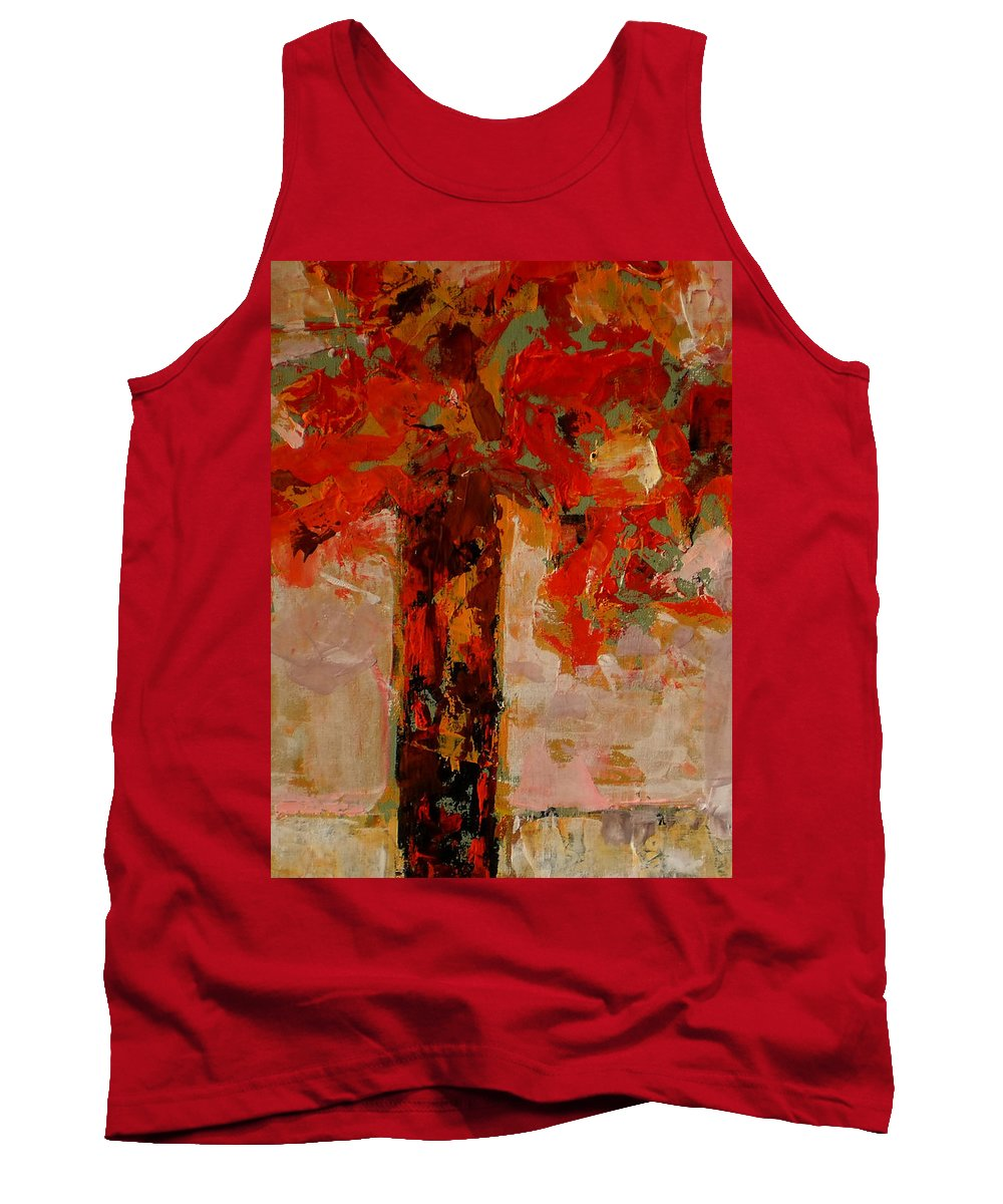 Landscape Tank Top featuring the painting Vase With Flowers by Vladimir Vlahovic
