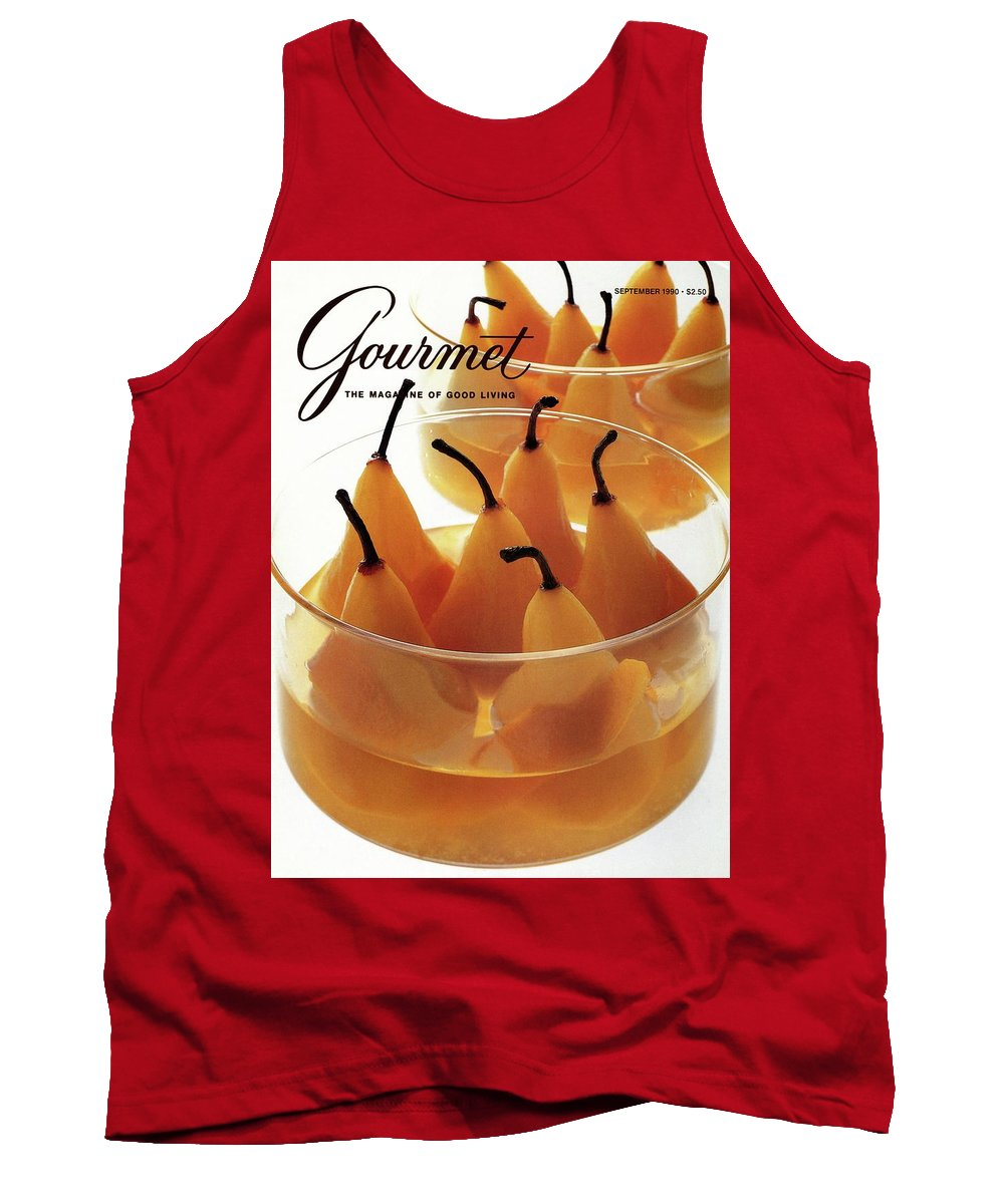 Food Tank Top featuring the photograph A Gourmet Cover Of Baked Pears by Romulo Yanes