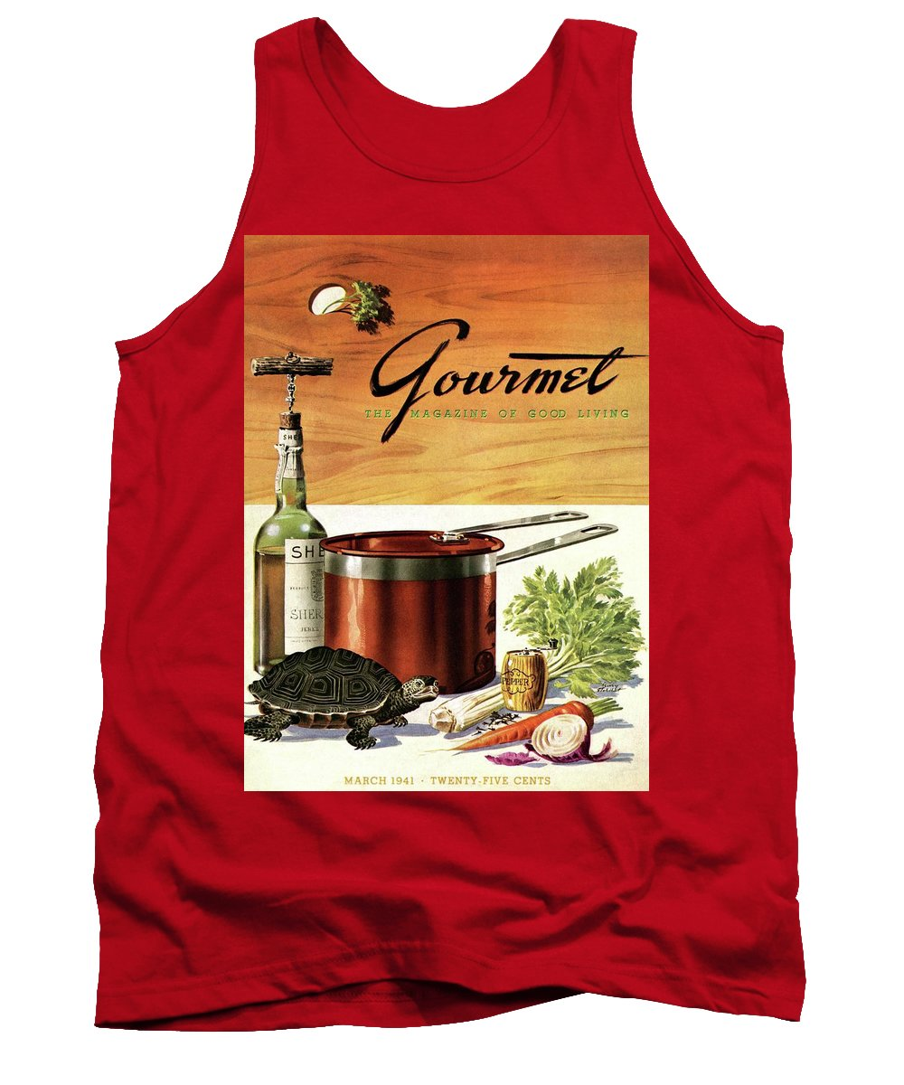 Illustration Tank Top featuring the photograph A Gourmet Cover Of Turtle Soup Ingredients by Henry Stahlhut