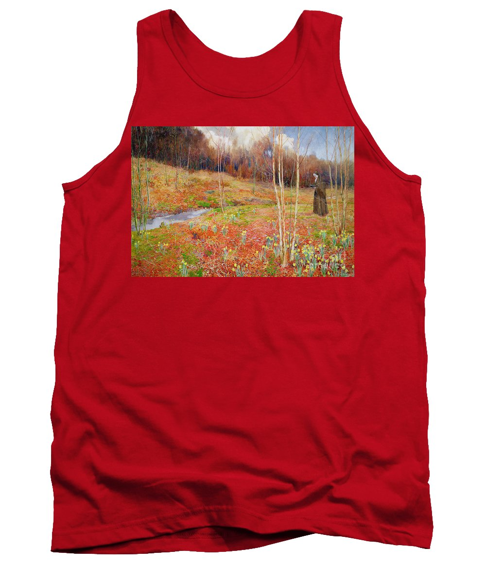 Stream Tank Top featuring the painting A Landscape In Spring With A Nun by John George Sowerby