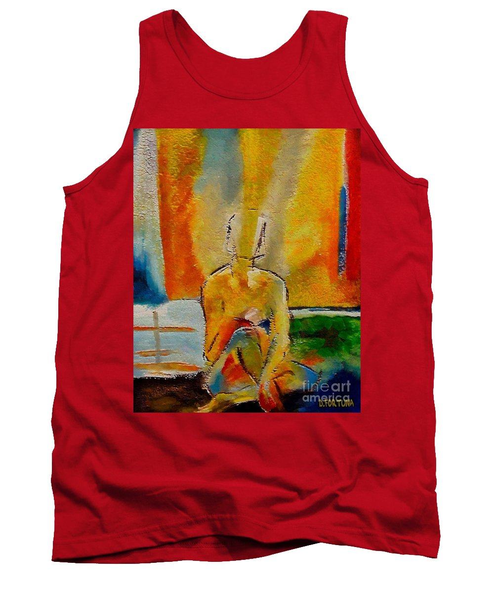 Nude Tank Top featuring the painting Abandoned by Dragica Micki Fortuna