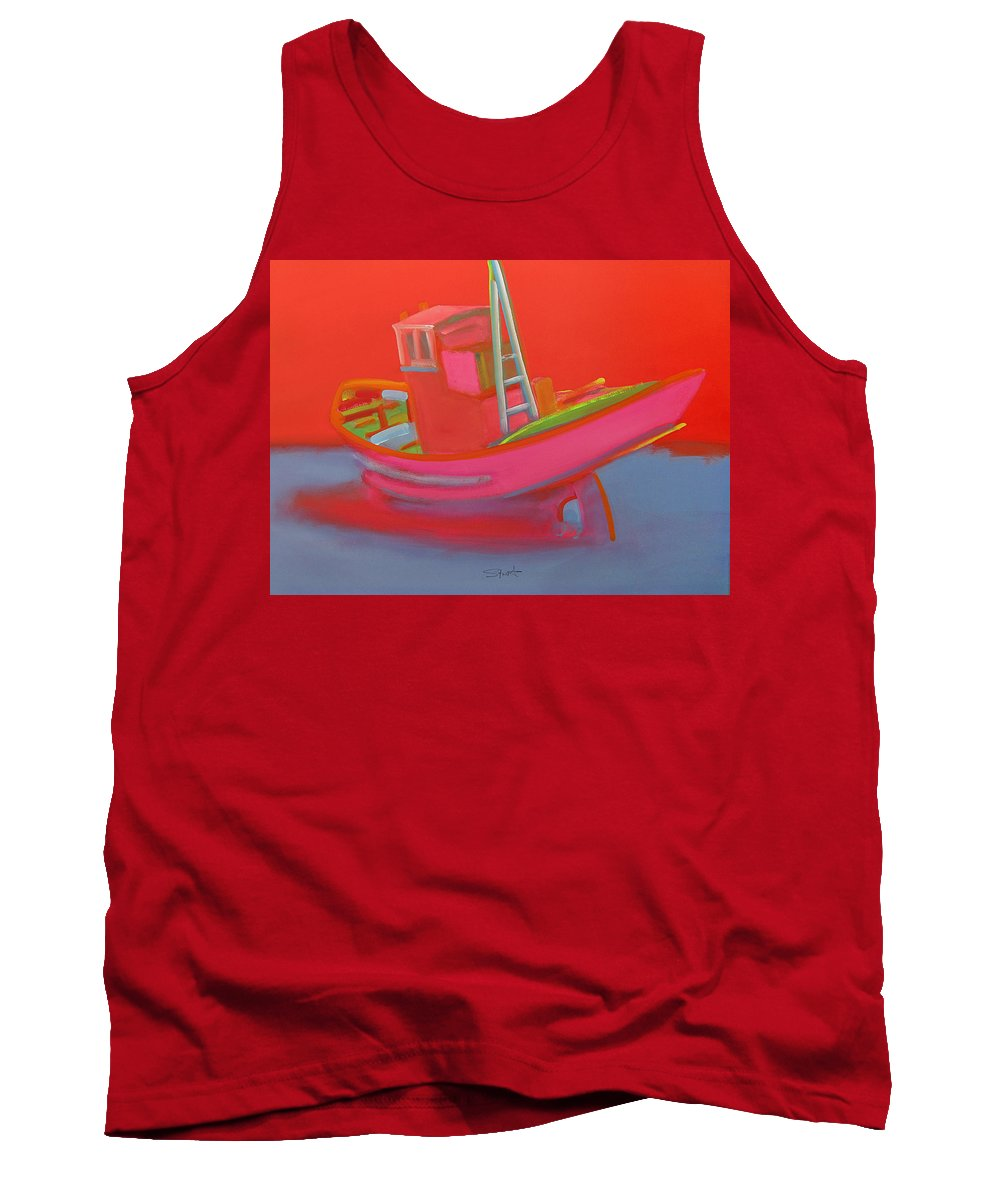Fishing Tank Top featuring the painting Abandoned Red Fishing Trawler by Charles Stuart