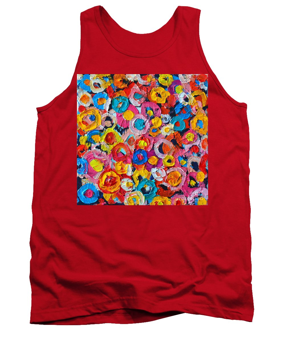 Abstract Tank Top featuring the painting Abstract Colorful Flowers 1 - Paint Joy Series by Ana Maria Edulescu