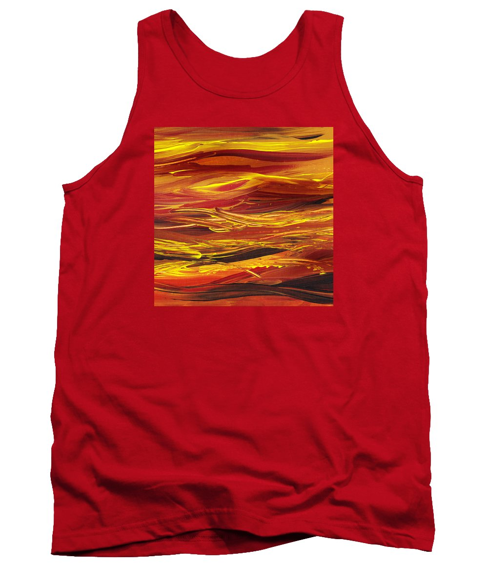 Hill Tank Top featuring the painting Abstract Landscape Yellow Hills by Irina Sztukowski
