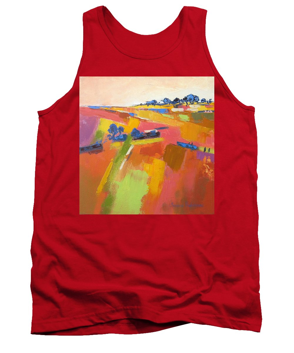 Fields Tank Top featuring the painting Abstract Landscape by Yvonne Ankerman