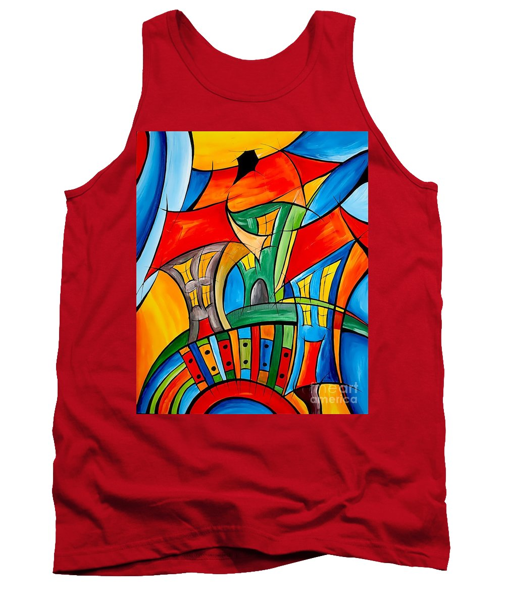 Abstraction Tank Top featuring the painting Abstraction 756 - Marucii by Marek Lutek