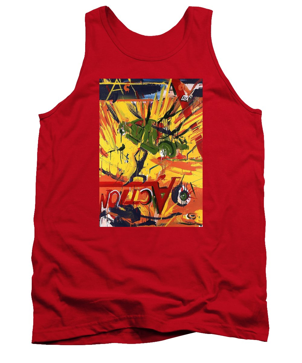 Abstract Art Tank Top featuring the painting Action Abstraction No. 1 by David Leblanc