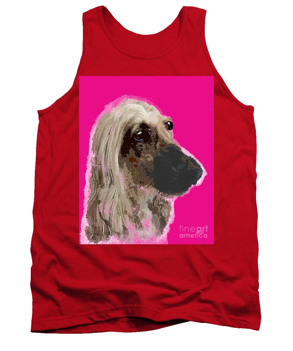 Dog Tank Top featuring the digital art Afghan Hound Pink by Dalon Ryan