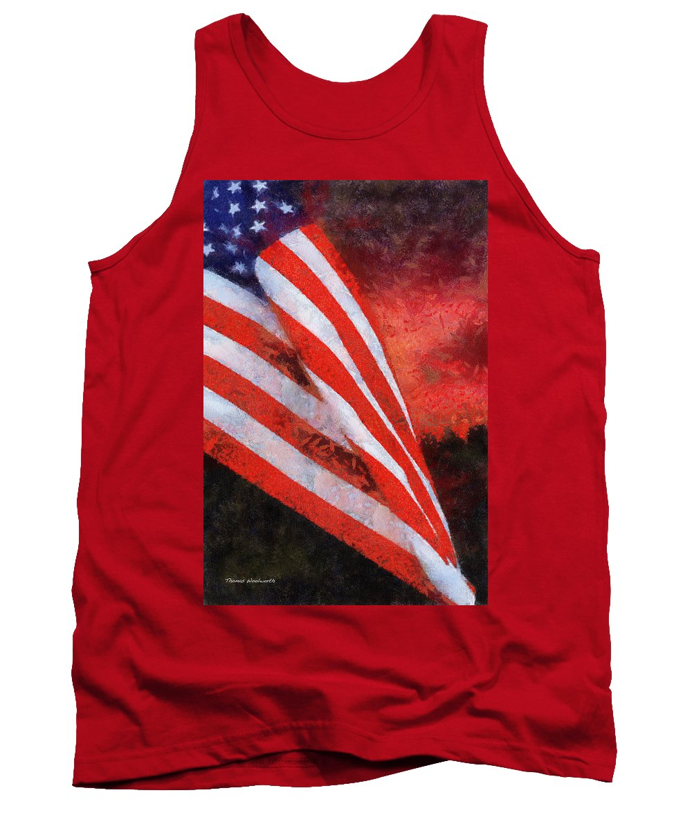Flag Tank Top featuring the photograph American Flag Photo Art 08 by Thomas Woolworth