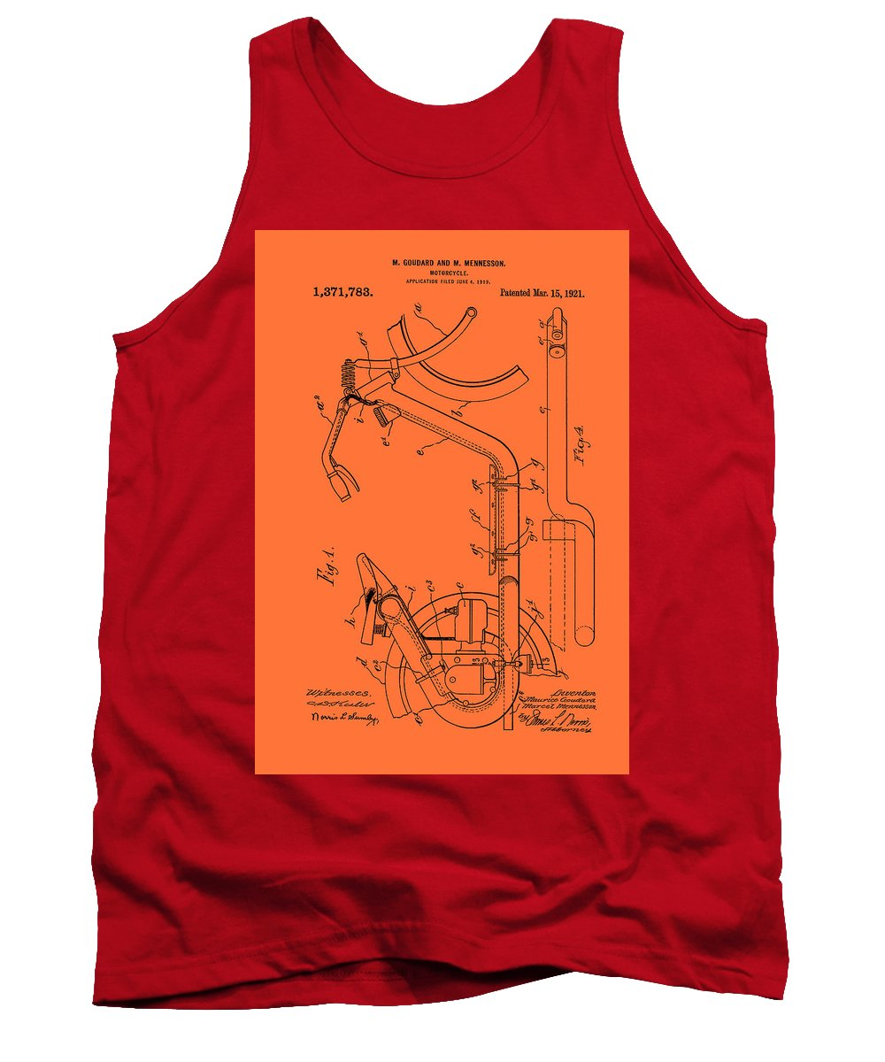 Patent Tank Top featuring the drawing Antique Motorcycle Patent 1921 by Mountain Dreams