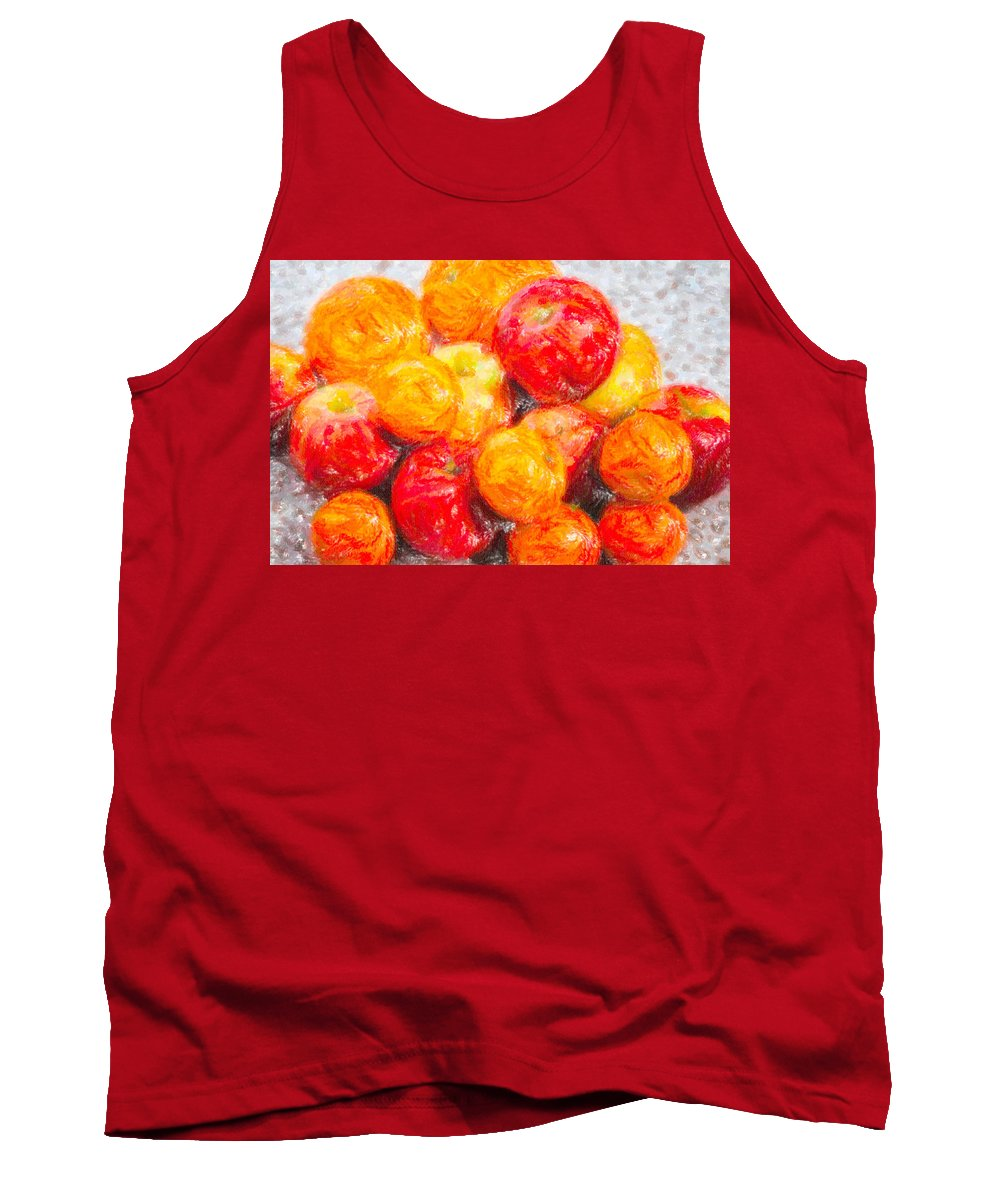Agriculture Tank Top featuring the drawing Apple Tangerine And Oranges by Alain De Maximy