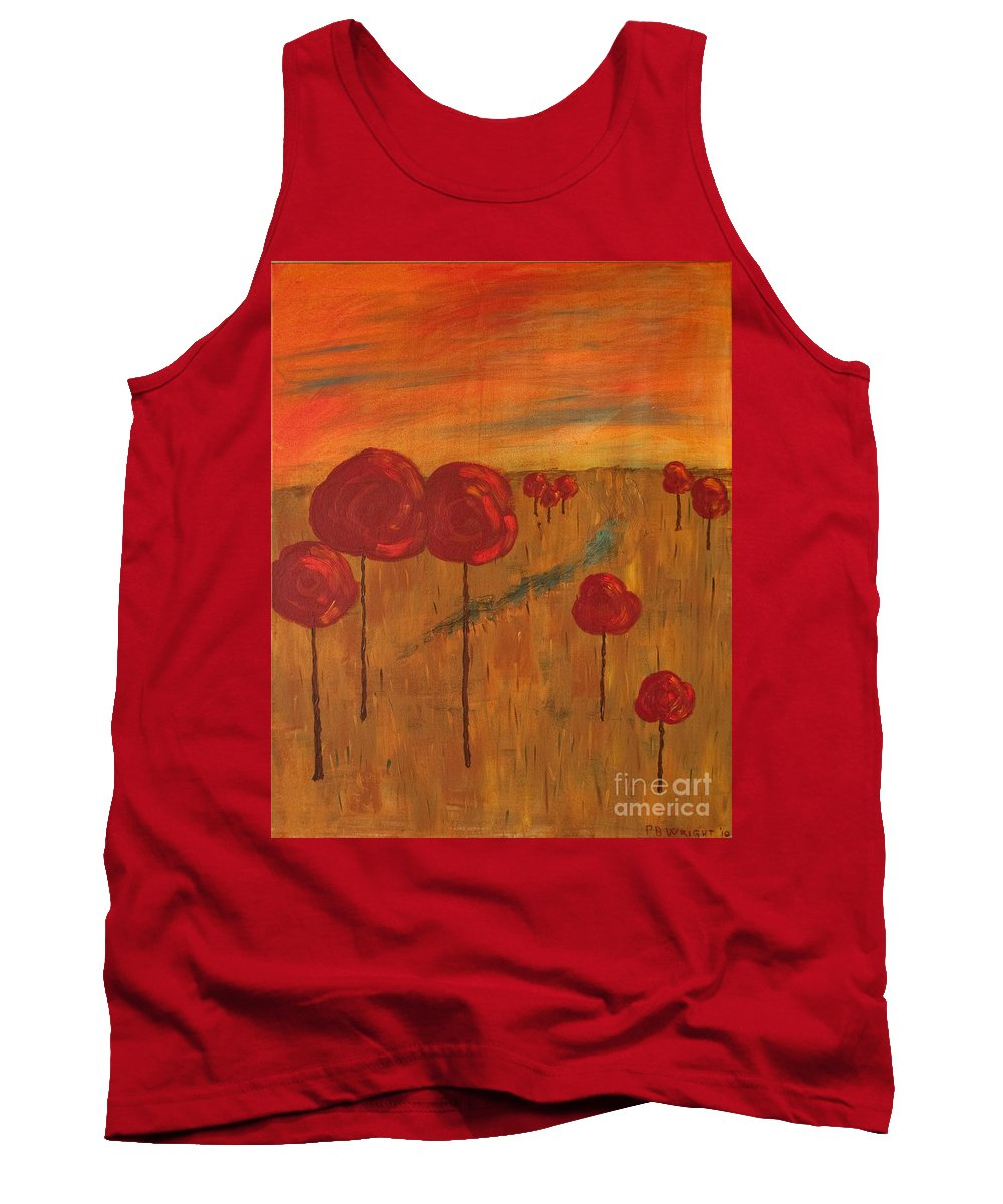 Wright Tank Top featuring the painting Appletrees by Paulette B Wright