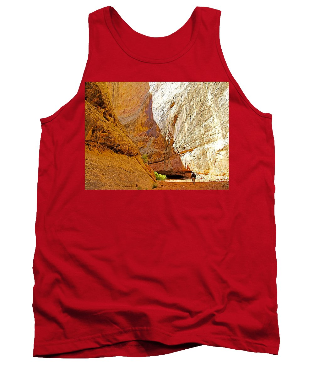 Approaching The Shadow In Grand Wash In Capitol Reef National Park Tank Top featuring the photograph Approaching The Shadow In Grand Wash In Capitol Reef National Park-utah by Ruth Hager