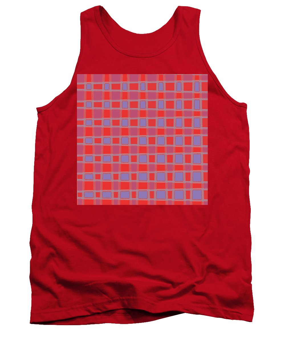 Elegant Tank Top featuring the mixed media Art 1906 Elegant Graphic Pattern Squares Colorful Digitalart Graphicart Surface Texture Design Multi by Navin Joshi