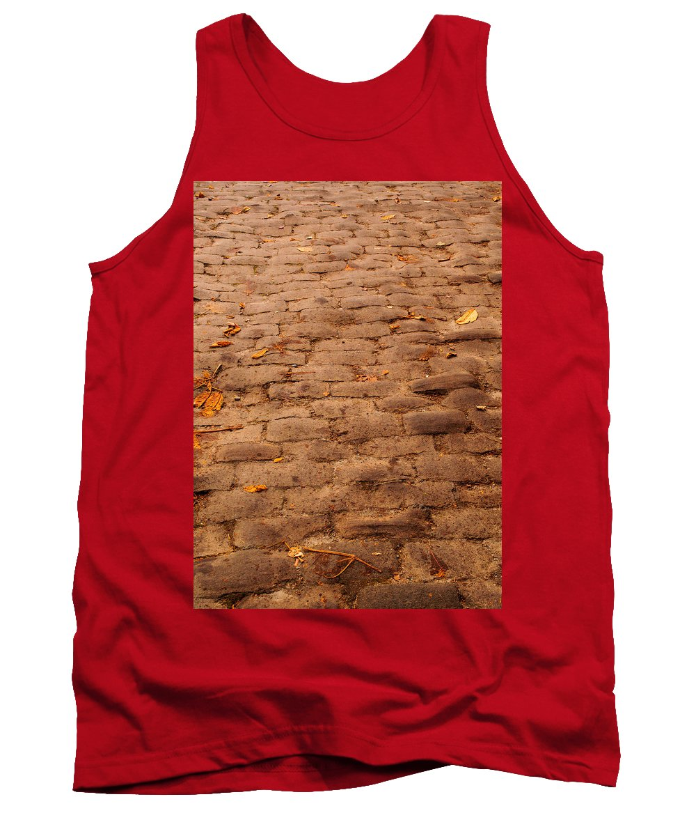Road Tank Top featuring the photograph Autumn Cobble Stone Road II by Tikvah's Hope