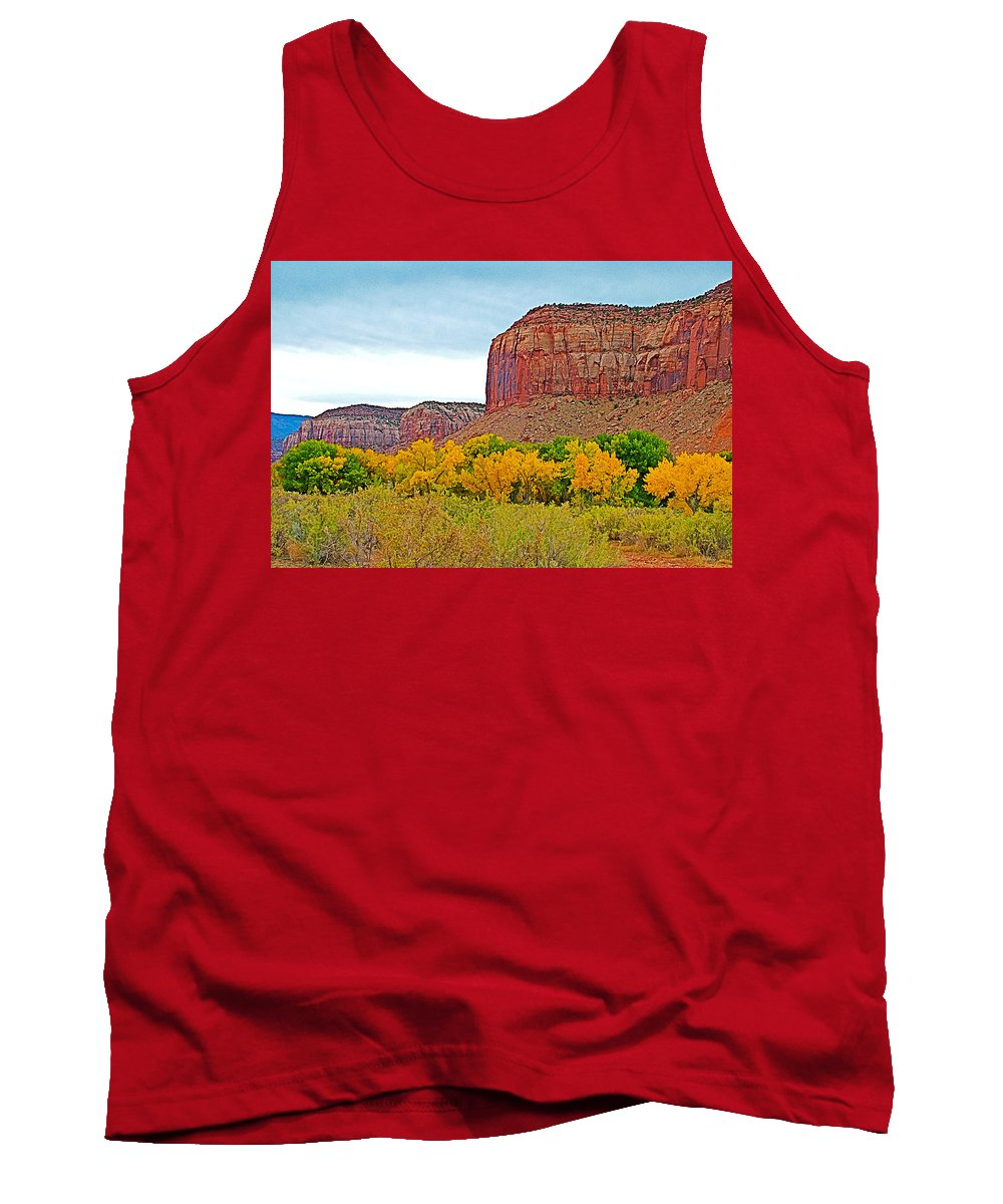 Autumn Gold On Highway 211 Going Into Needles District Of Canyonlands National Park Tank Top featuring the photograph Autumn Gold On Highway 211 Going Into Needles District Of Canyonlands National Park-utah  by Ruth Hager