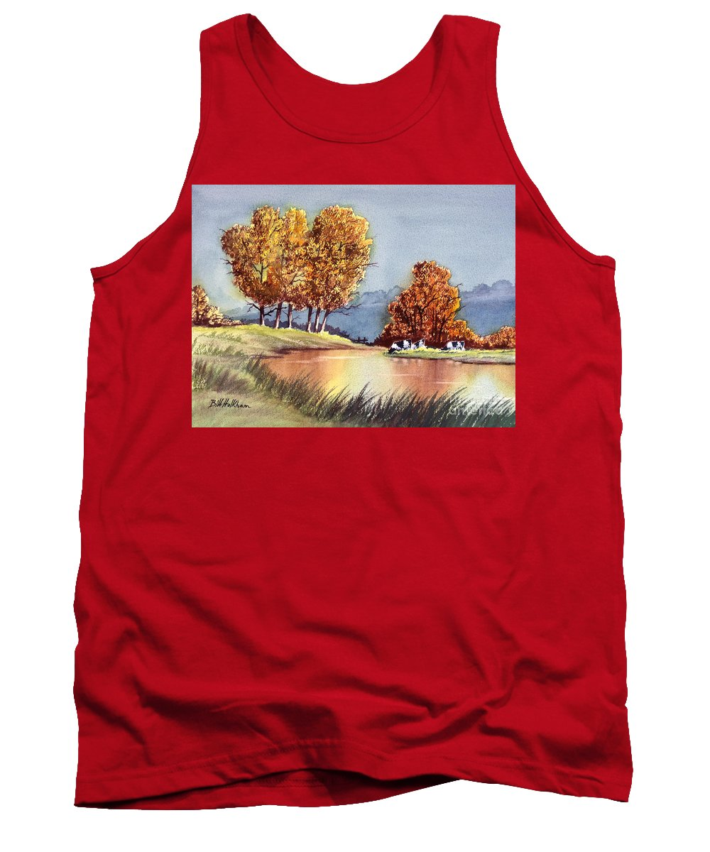 Bill Holkham Tank Top featuring the painting Autumn Golds by Bill Holkham