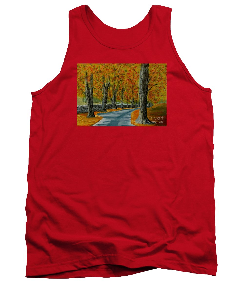 Autumn Tank Top featuring the painting Autumn Pathway by Anthony Dunphy