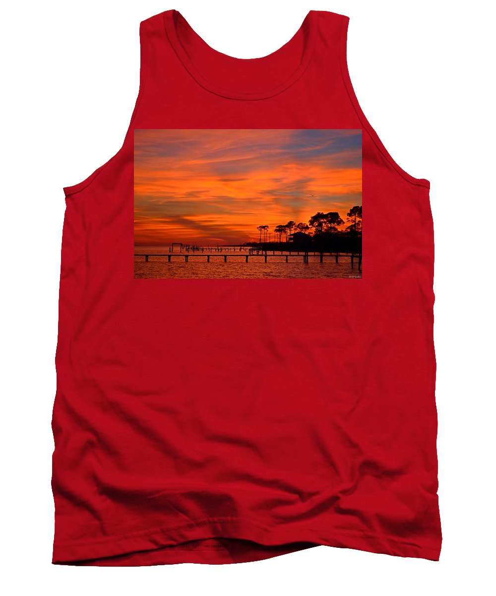 Awesome Tank Top featuring the photograph Awesome Fiery Sunset On Sound With Cirrus Clouds And Pines by Jeff at JSJ Photography