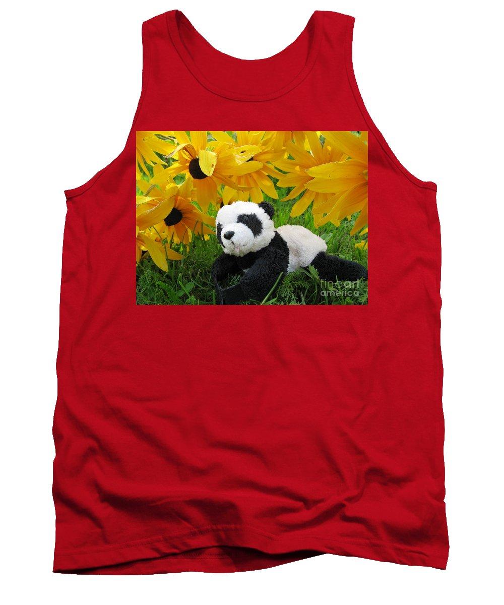 Baby Panda Tank Top featuring the photograph Baby Panda Under The Golden Sky by Ausra Huntington nee Paulauskaite