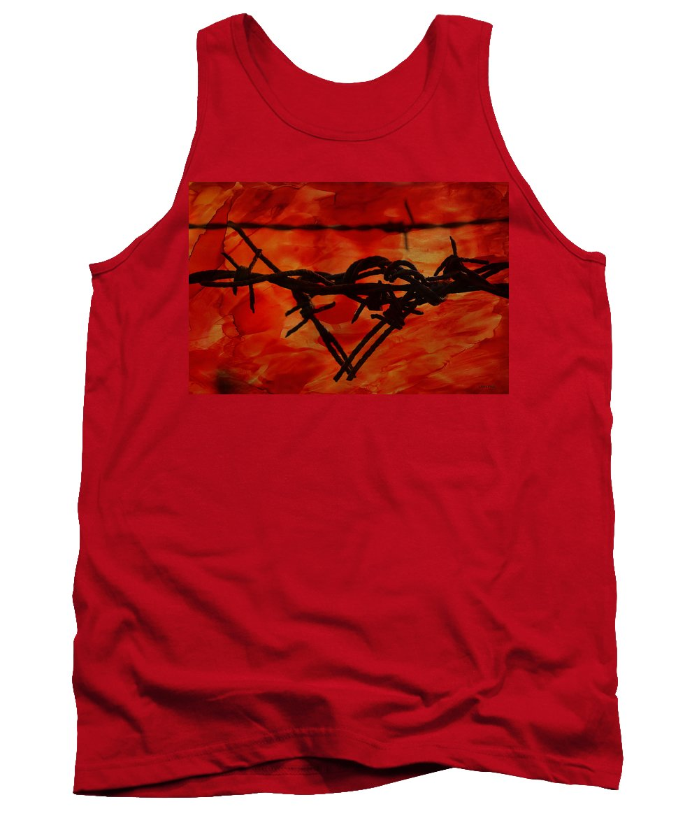 Barbed Tank Top featuring the photograph Barbed Wire Love Series Rage by Lesa Fine