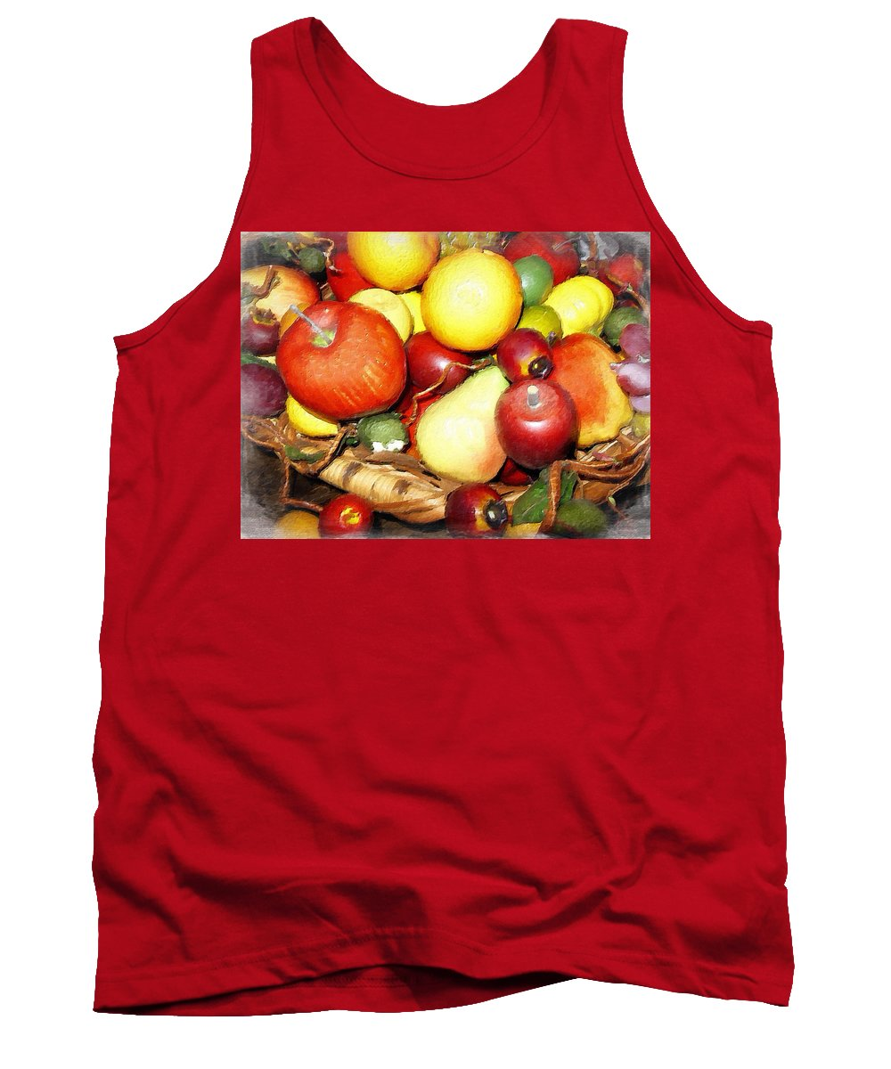 Wicker Basket Of Fruit Tank Top featuring the photograph Basket Of Fruit by Joan Reese