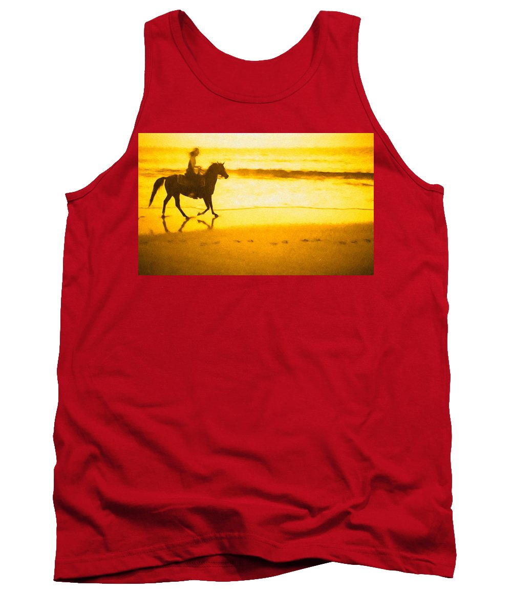 Horse Tank Top featuring the photograph Beach Rider by Alice Gipson